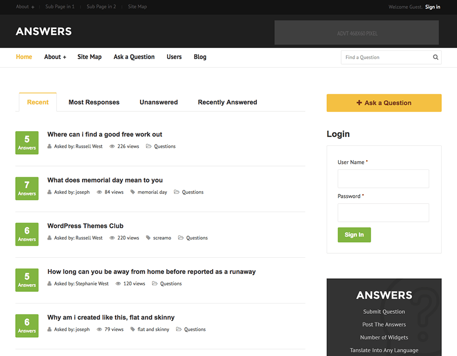 Answers WordPress Theme